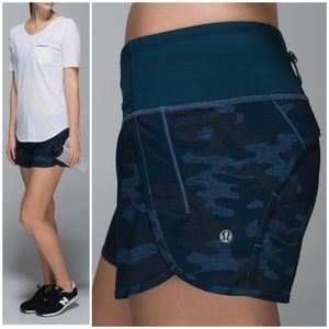 Rare Lululemon Lotus Camo Blue Run Times Short